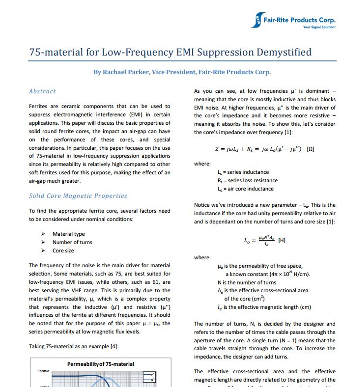 75-material for Low-Frequency EMI Suppression Demystified