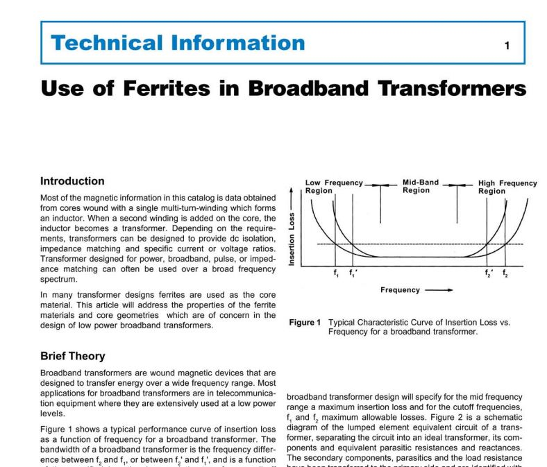 Use of Ferrites in Broadband Transformers