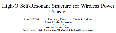 High-Q Self-Resonant Structure for Wireless Power Transfer
