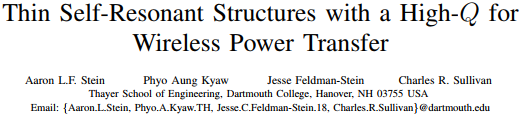 Thin Self-Resonant Structures with a High-Q for Wireless Power Transfer